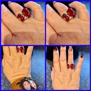 Paparazzi Red Accented OS Ring New